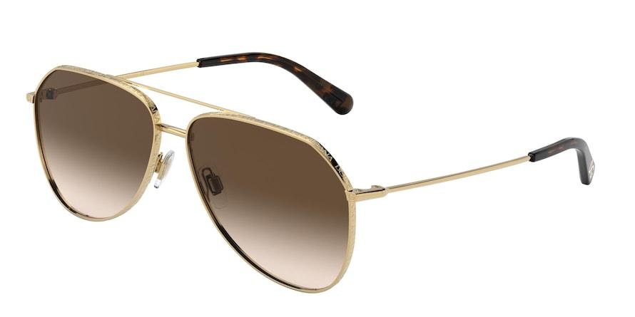 Dolce & Gabbana DG2244 Gold Lentes Brown Gradient