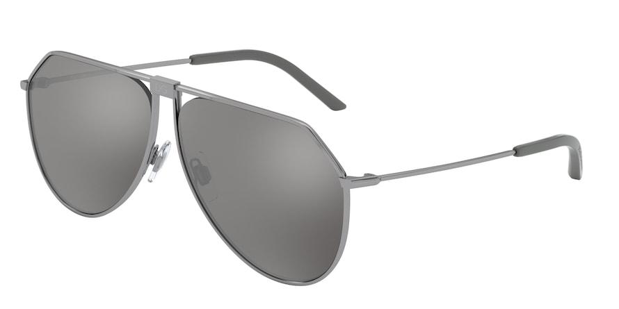 Dolce & Gabbana DG2248 Gunmetal Lentes Light Grey Mirror Silver 80