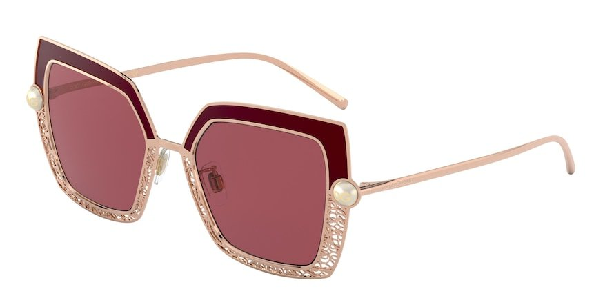 Dolce & Gabbana DG2251H Pink Gold/Bordeaux Lentes Dark Violet