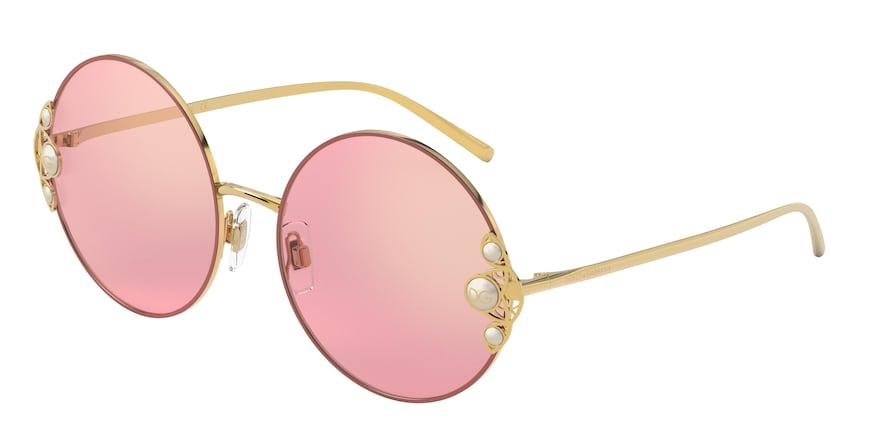 Dolce & Gabbana DG2252H Gold/Pink Lentes Dark Pink Mirror Red