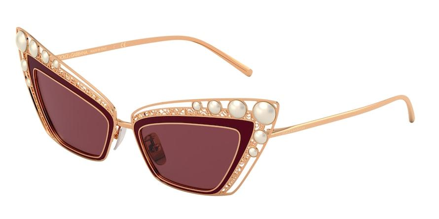 Dolce & Gabbana DG2254H Pink Gold/Bordeaux Lentes Dark Violet