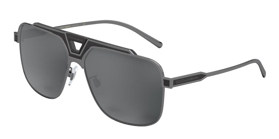 Dolce & Gabbana DG2256 Gunmetal/Black Matte Lentes Light Grey Mirror Black