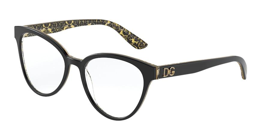Dolce & Gabbana DG3320 Black On Damasco Glitter Black