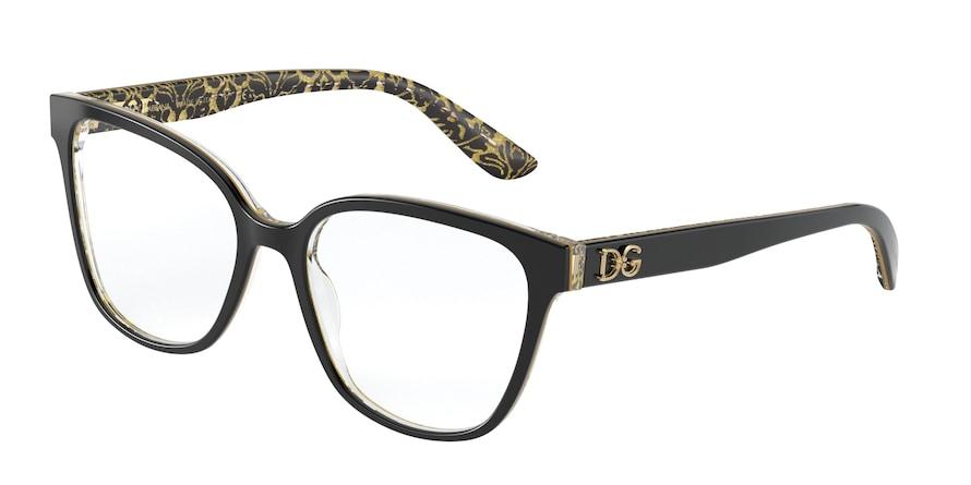 Dolce & Gabbana DG3321 Black On Damasco Glitter Black