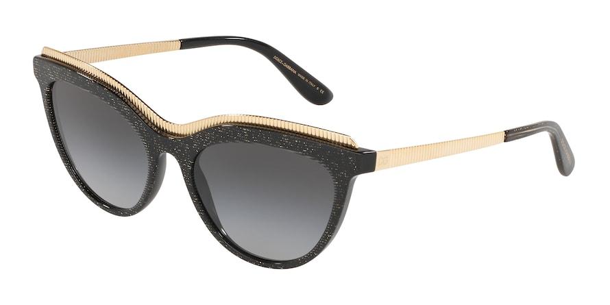 Dolce & Gabbana DG4335 Glitter Gold Striped Black Lentes Grey Gradient