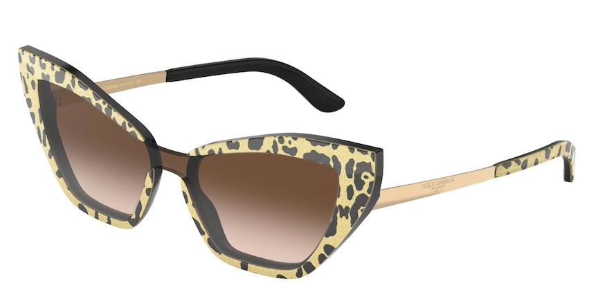 Dolce & Gabbana DG4357 Leo Glitter Gold On Black Lentes Brown Gradient