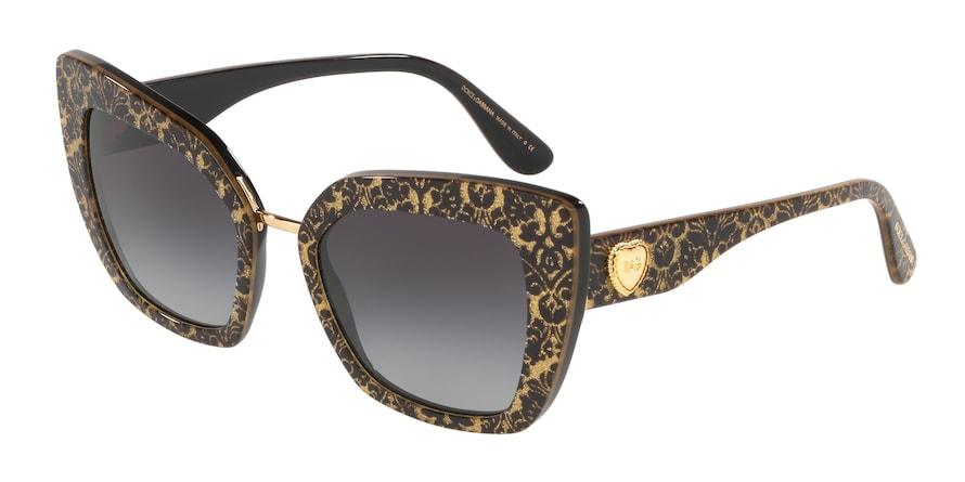 Dolce & Gabbana DG4359 Damasco Glitter Black On Black Lentes Grey Gradient