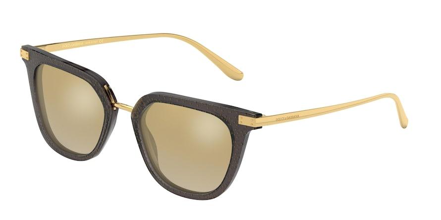 Dolce & Gabbana DG4363 Transparent Black Pois Gold Lentes Grad Light Brown Mirror Gold