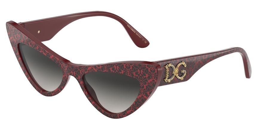 Dolce & Gabbana DG4368 Damasco Black On Bordeaux Lentes Grey Gradient
