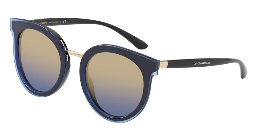 Dolce & Gabbana DG4371 Top Transparent Blue On Black Lentes Blue Mirror Gradient Gold
