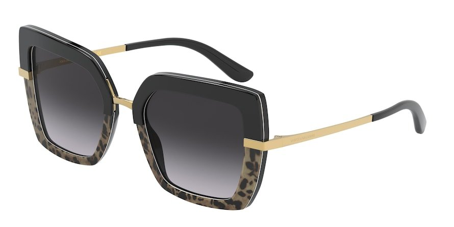 Dolce & Gabbana DG4373 Top Black On Print Leo/Black Lentes Grey Gradient