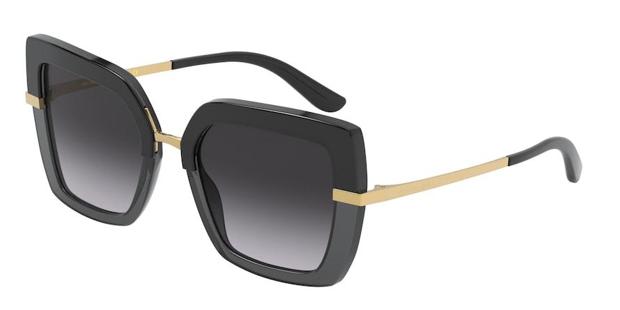 Dolce & Gabbana DG4373 Top Black On Transparent Black Lentes Grey Gradient