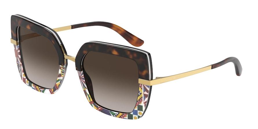 Dolce & Gabbana DG4373 Havana/Print Carretto Lentes Brown Gradient