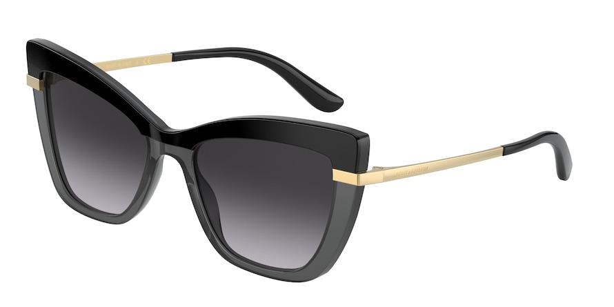 Dolce & Gabbana DG4374 Top Black On Transp Black Lentes Grey Gradient