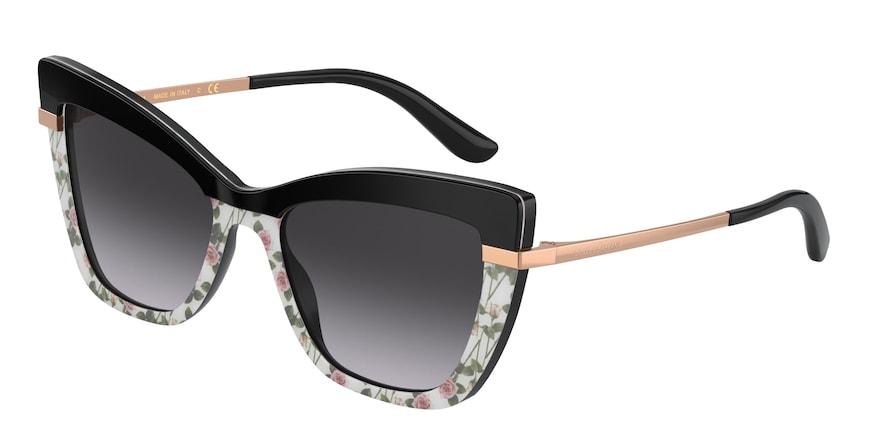 Dolce & Gabbana DG4374 Top Black On Print Pink Rose Lentes Grey Gradient