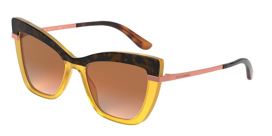 Dolce & Gabbana DG4374 Top Havana On Opal Ochre Lentes Orange Mirror Silver Gradient