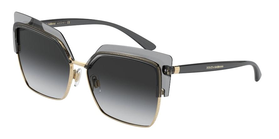Dolce & Gabbana DG6126 Transparent Grey/Gold Lentes Grey Gradient
