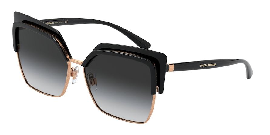 Dolce & Gabbana DG6126 Black/Pink Gold Lentes Grey Gradient