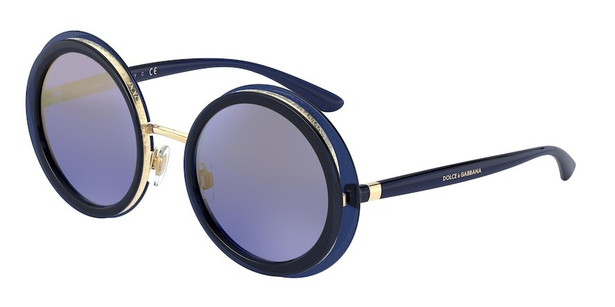 Dolce & Gabbana DG6127 Opal Blue Lentes Blue Mirror Gradient Gold