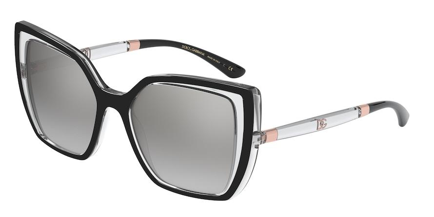 Dolce & Gabbana DG6138 Black On Crystal Lentes Light Grey Mirror Silver Grad