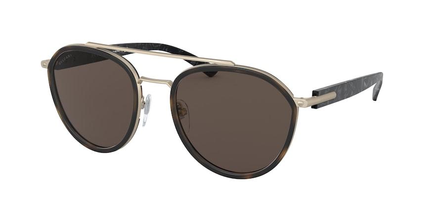 Bvlgari BV5051 Matte Pale Gold/Matte Havana Lentes Dark Brown