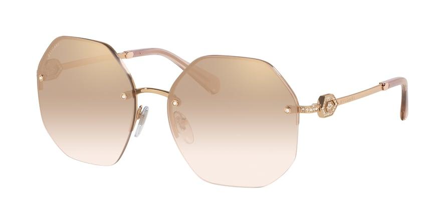 Bvlgari BV6122B Pink Gold Lentes Light Brown Mirror Grad Gold