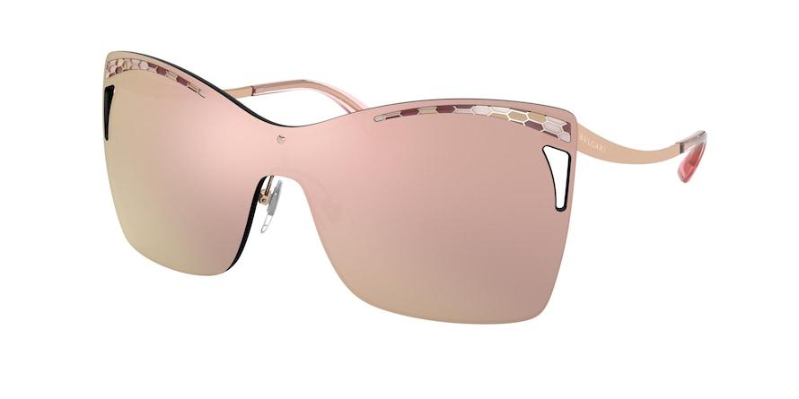 Bvlgari BV6138 Pink Gold Lentes Grey Mirror Rose Gold