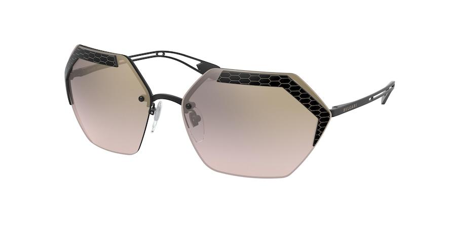 Bvlgari BV6140 Matte Black Lentes Light Brown Mirror Grad Gold