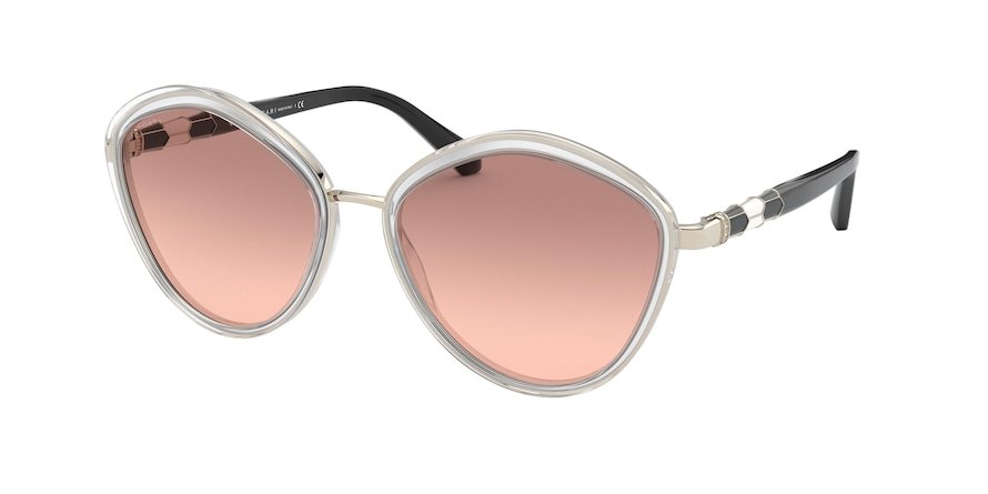 Bvlgari BV6143B Pale Gold/Top Cryst On Milky W Lentes Brown Gradient