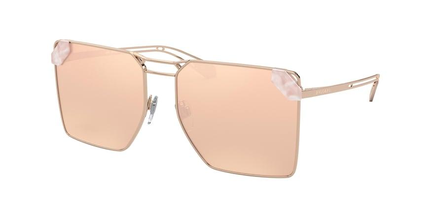 Bvlgari BV6147 Pink Gold Lentes Clear Mirror Real Rose Gold