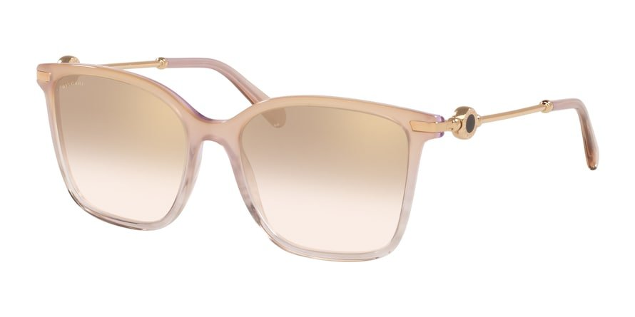 Bvlgari BV8222 Transparent Pink Striped Lentes Light Brown Mirror Grad Gold