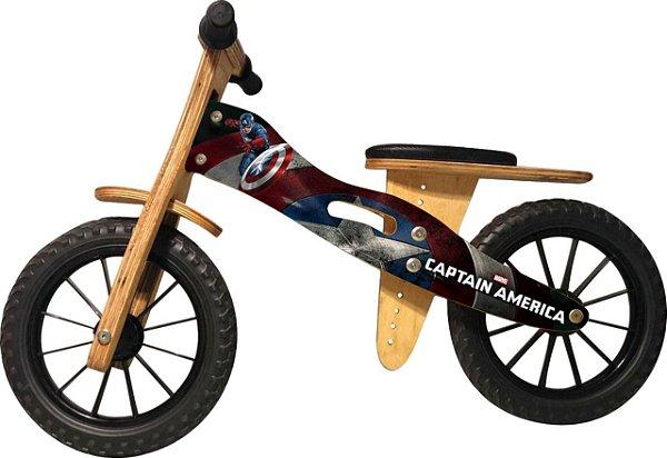 Bicicleta Infantil De Madeira Aro 12 - CAPITÃO AMERICA