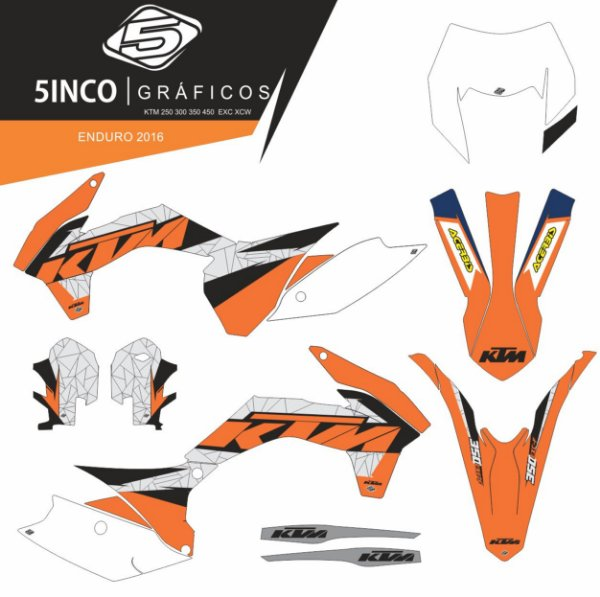 Kit adesivo 3M Enduro 2016 KTM 350 EXCF 2016