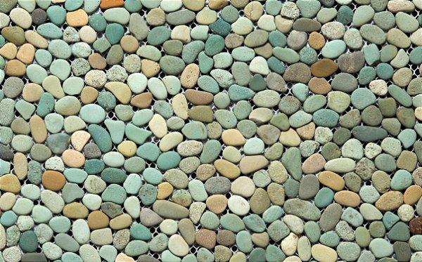 Seixo Fiji Telado Verde Mix Cx. com 1M²