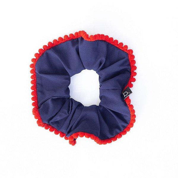 Scrunchie De Tecido Azul Marinho Com Pompom