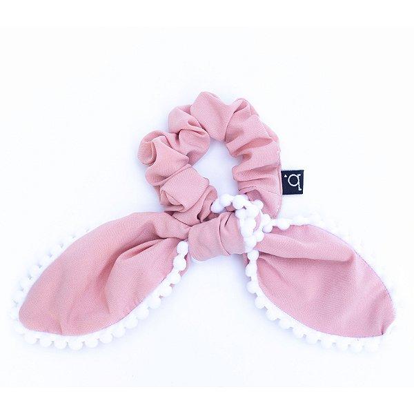 Scrunchie Amarrador De Tecido Com Laço Pompom Rosa