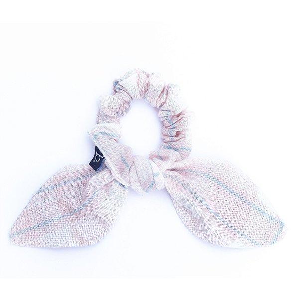 Scrunchie Estampa Xadrez Rosa E Azul Com Laço