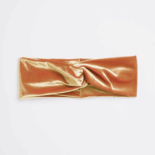 Turbante KIDS Headband Tiara De Veludo Transpassado Ouro