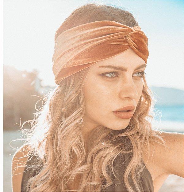Turbante Headband Tiara De Veludo Transpassado Ouro