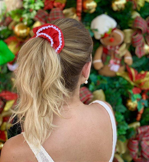Scrunchie De Tecido Vermelho Com Pompom