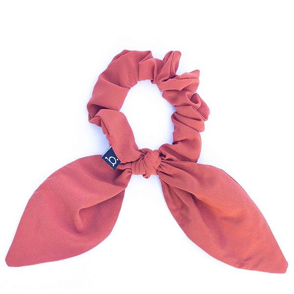 Scrunchie Amarrador De Cabelo De Tecido Rosé Com Laço