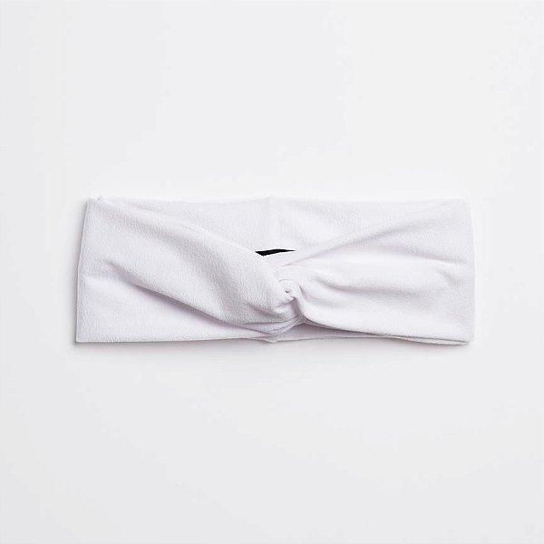 Turbante Headband Tiara Transpassado Crepe Branco