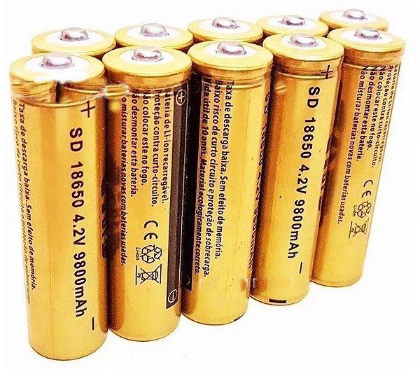 BATERIA 18650 GOLD 9800mAh 4,2V PARA LANTERNA LED RECARREGÁVEL