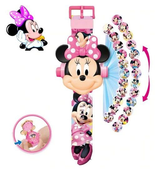 Relógio Infantil Minnie Com Projetor De Imagens