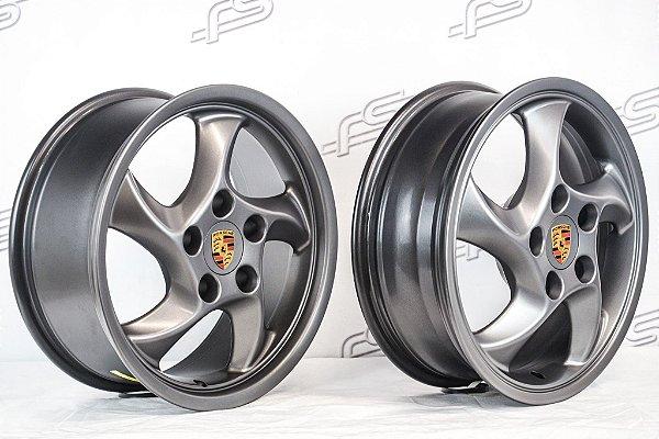 Jogo de Rodas Porsche Cup Duas Talas Aro 17 Grafite Fosco / 5 Furos (5x130)