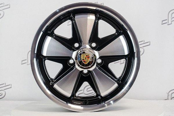 Roda 911 Fuchs Preta Diamantada Kombi Aro 15 Tala 4,5 / 5 Furos (5x112)