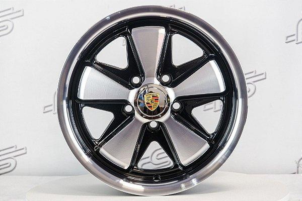 Roda 911 Fuchs Preta Diamantada Kombi Aro 15 Tala 6,5 / 5 Furos (5x112)