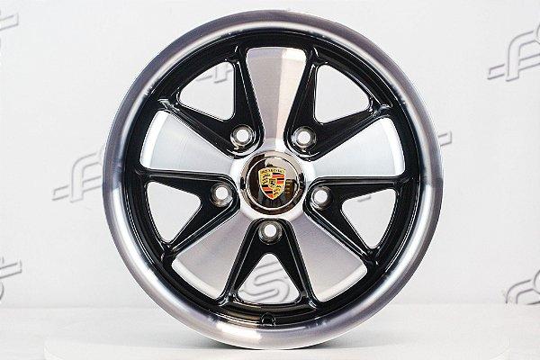 Roda 911 Fuchs Preta Diamantada Aro 15 Tala 5,5 / 5 Furos (5x130)