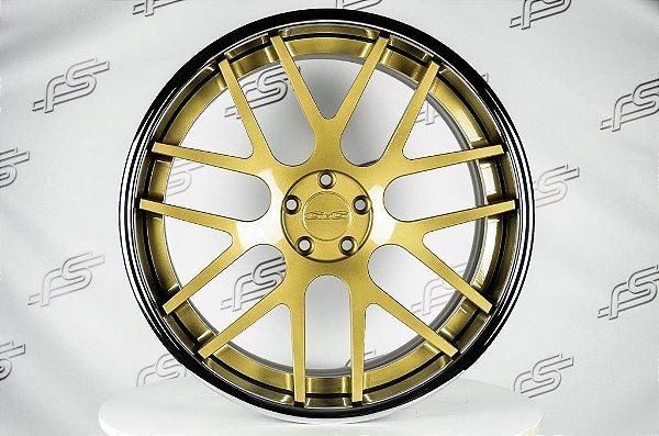 Roda GFG Crest Dourada Borda Inox Aro 22 / 5x112 (Kit com 4 Rodas)