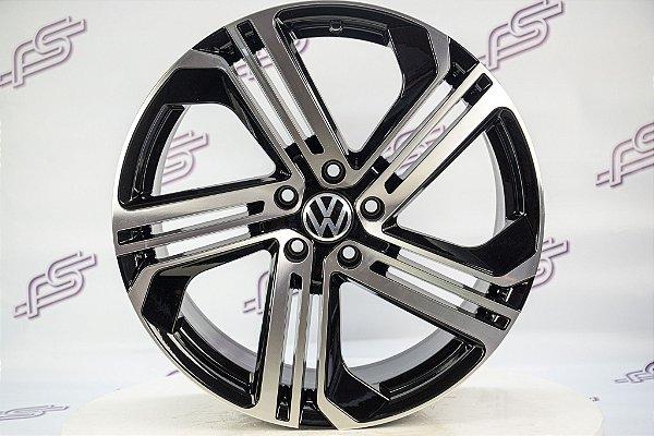 Jogo De Rodas VW Golf Gti Preto Diamantado Brilhante 5x112 - 19x8,5
